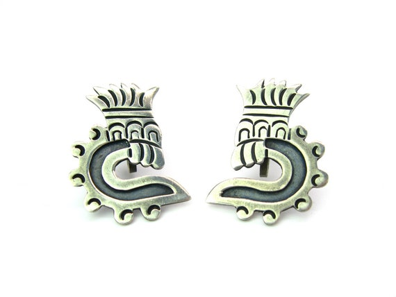 Vintage Taxco Aztec Feathered Serpent Quetzalcoatl Sterling Silver Earrings