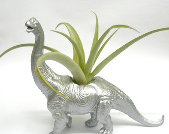 Silver Diplodocus Dinosaur Planter with Air Plant // Coworker Gift // For Her // For Him //