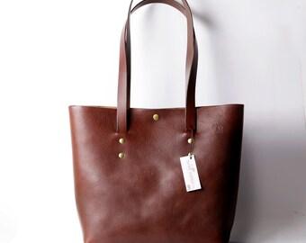Ultrabag tote bag in vegetable tanned Italian leather - chestnut. Handmade bag. British made