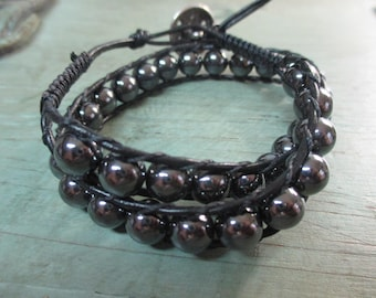 Hematite beaded black leather double wrap bracelet