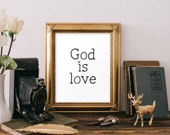 Scripture art print, God is love bible verse, Christian art, Bible verse art, Printable scripture verses, Home decor, Instant download BD758