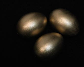 Set Of Three Golden Chicken Eggs