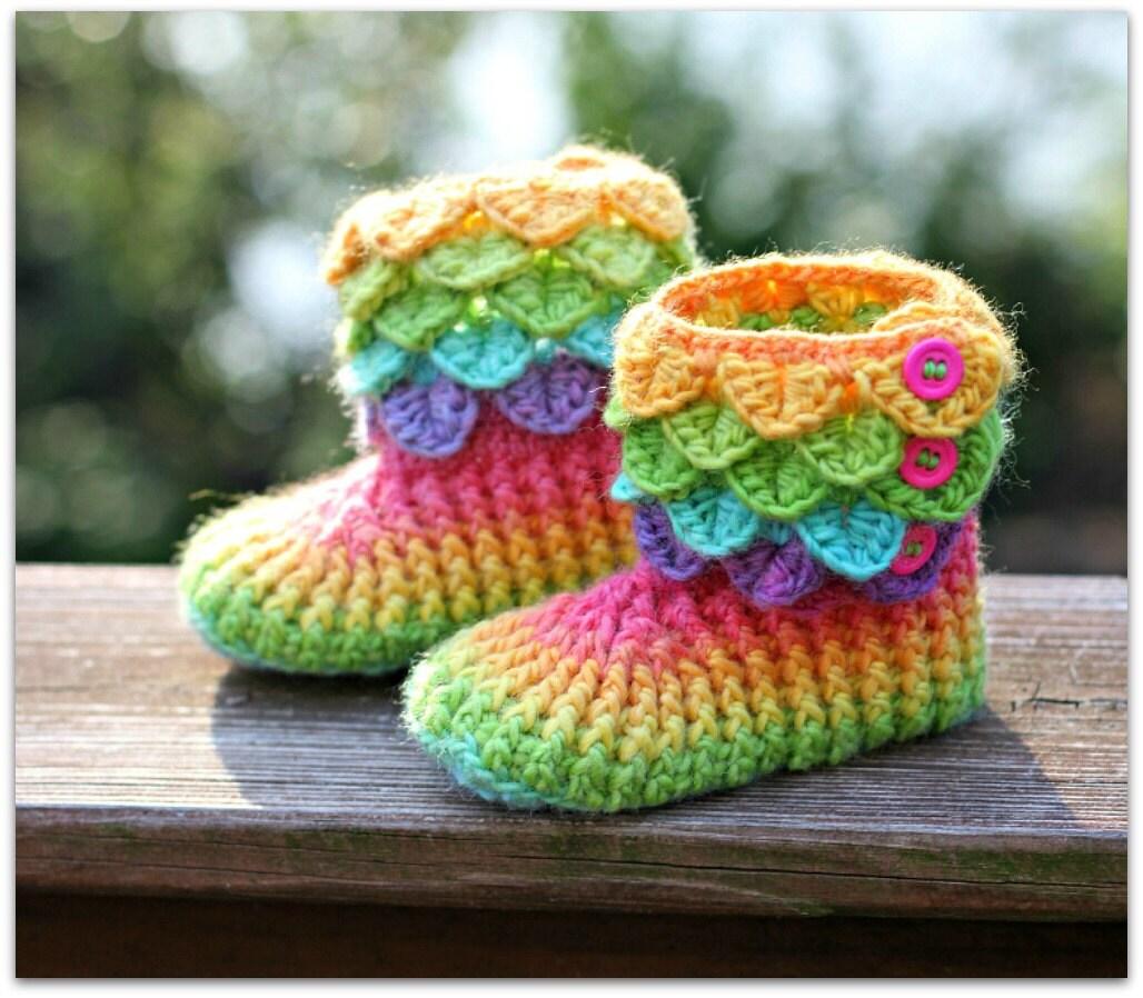 CROCHET PATTERN: Dragon Crocodile Stitch Boots Child Sizes