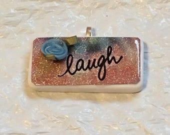 Laugh Blue Rose on Glitter Tie Dye Handmade Domino Pendant Necklace Stocking Stuffer, Birthday Gift, Secret Santa