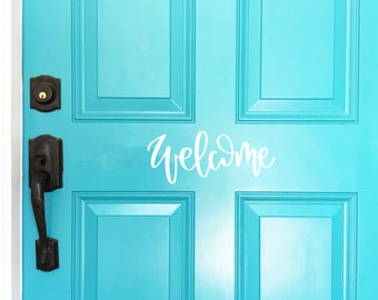 Welcome Door Decal, Hello Vinyl Decal, Front Door Decal, Front Door Sign, Front Door Vinyl, Hello Vinyl Lettering, Vinyl Lettering