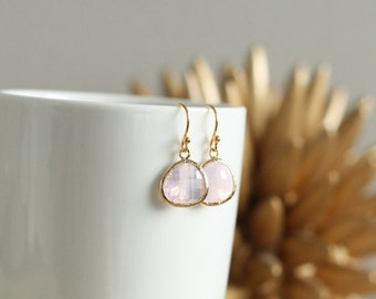 Gold Pale Pink Drop Earrings 14Kt Wedding Bridesmaid Bridal Party