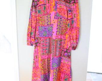 vintage pink &orange bohemian maxi caftan dress *