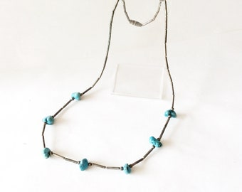 turquoise nuggets sterling silver short necklace vintage native genuine gemstones