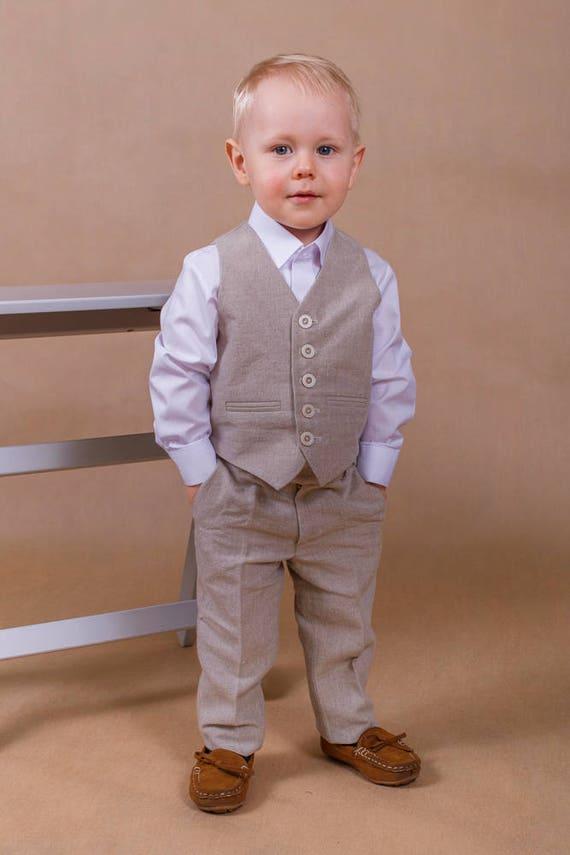 Ring bearer outfit Boy wedding suit Linen boy suit Boy wedding