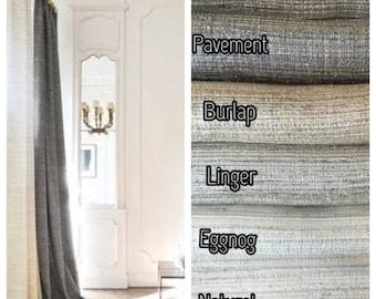 Faux Tussah Silk Custom Designer Drapery. 24 Colors.  Pinch Pleat, Inverted Pleat, French Pleat, Goblet Pleat. Faux Silk Curtain Panels.