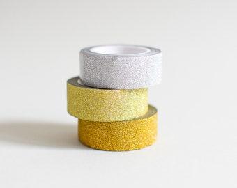 Gold Glitter tape, Silver Glitter masking tape, Glitter tape, metallic tape, bronze washi tape, gold tape, silver tape, golden glitter tape
