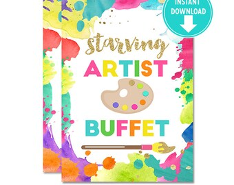 """Printable Neon Art Birthday """"Starving Artist Buffet"""" Photo Center piece sign - 5x7 and 4x6 , Art Party decorations [INSTANT Download]"""