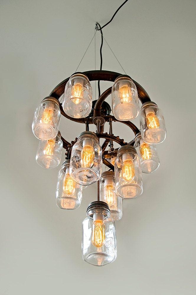 Mason jar chandelier 3 tier industrial cast iron gears zoom aloadofball Images