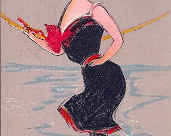 Excellent 1907 Vintage Postcard Long Branch Girl (Bathing Beauties Series) by H. King