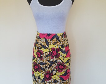Pink/Yellow and Brown African Print/Ankara A line Skirt and Jacket