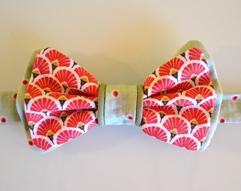 Bow tie man/woman - red and mint - art deco pattern