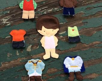 Zeke Felt Doll ,  Boy Felt Doll , Non Paper Doll , Flat Felt Doll , Doll and Outfit , Felt Doll Play Set , Small , Medium , or Large Sizes