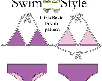 Girls Basic bikini pdf pattern size 6 to 14 by Swim style Australia