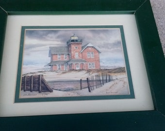 Sea Grit Lighthouse ~ Monmouth County New Jersey Print by Mark Sherman signed and numbered double matted and wood framed