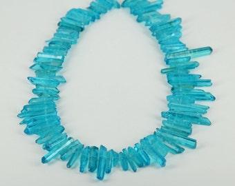 15.5 inches/strand,Approx 90pcs,Natural Blue Quartz Crystal Pendants Point Sticks Beads Pendant