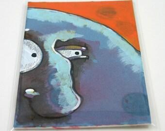 Blue Monster Original Folk Art Painting