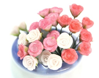 Miniature Roses Polymer Clay Flowers Supplies for Dollhouse, 12 stems