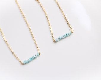 Blue Bead Bar Bracelet Beaded Bracelet Thin Gold Bracelet Tiny Beads Bracelet