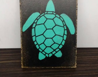 Wooden handmade colorful turtle