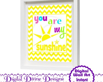 Digital Printable Wall Art 8x10 - You are my Sunshine -  Instant Download
