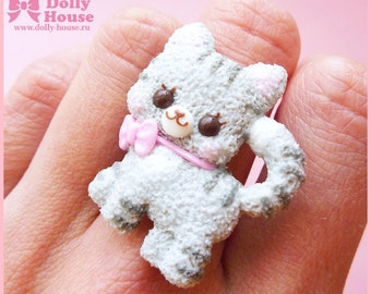 Kawaii Kitty Cat Ring by Dolly House