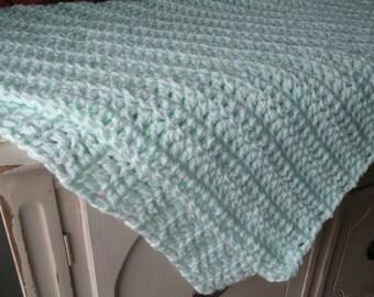 Handmade Crocheted Baby Blanket, Baby shower gift, photo prop, soft green blanket, tummy time blanket