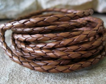 Round Braided Leather Lace Saddle Brown Bolo Cord 3MM 1Yd
