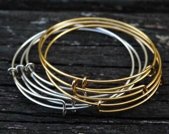Expandable Adjustable Antiqued Gold Brass Rose Gold Bangles, 1pc