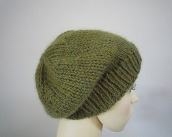 Hand knit Alpaca slouchy beanie made with lovely soft alpaca yarn