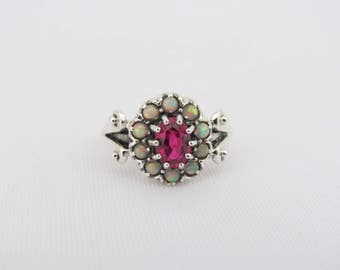 Vintage Sterling Silver Ruby & Opal Cluster Ring Size 7