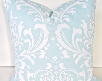 Baby Blue PILLOWS Blue Throw Pillow Covers baby blue Nursery Pillow Covers Baby Nursery Pillows 16 18x18 20 All Sizes. Boy Damask Home Sale
