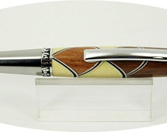 Handcrafted Wood Pen turned with scalloped huon pine and rosewood