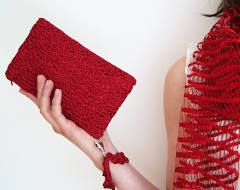 Red Clutch Bag, Scarlet Red Crochet Purse, Bridesmaid Gift, Bridal Shower Gift, Bridesmaid Clutch, Small Red Handbag, Lace Clutch Lace Purse