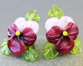 Handmade Lampwork Beads, Pansy, Glass Pansy Bead, Glass Beads