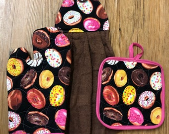Donuts Theme Oven Mitt, Pot Holder and Hanging Towel Kitchen Set