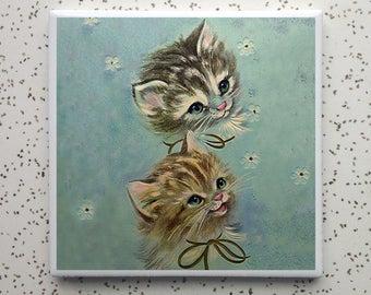 Kitty Heads Tile Coaster