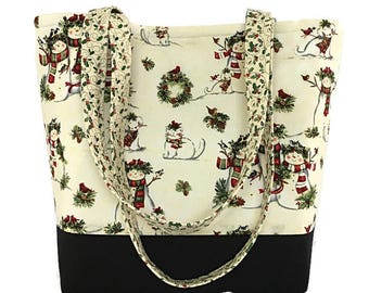 Snowman Tote bag, Market bag, Gift for her, gift for women, Tote bags for Christmas, Craft Bag, Travel bag, Dee's Designs,