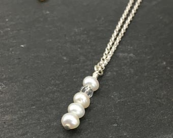 Pearl Necklace - Crystal Necklace - Sterling Silver Necklace - Wedding Jewellery - Gift for Her - Sterling Necklace - Freshwater Pearls