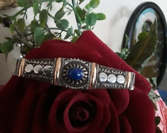 Sterling silver and gold lapiz vintage brooch