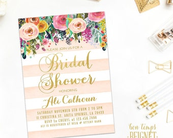 INVITATION SET - Floral with Blush and White Stripe - Baby or Bridal Shower Invitations - Thank You Note Card & Favor Tags Included