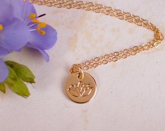 Gold Lotus Necklace - Gold Filled Dainty Lotus Necklace, Tiny Lotus Charm Pendant, Zen Jewelry, Yoga Necklace, Yoga Jewelry, Yoga Lover Gift