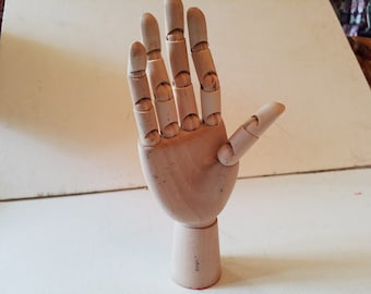 Wooden hand, articulated fingers, right, great display for rings