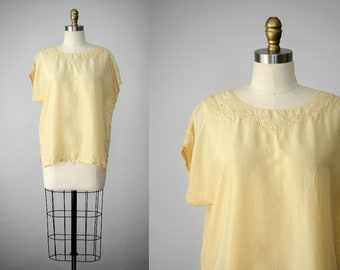 yellow silk blouse | short sleeve silk blouse | tissue silk blouse | oversized silk blouse | silk top