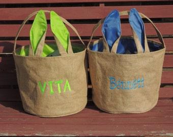 Monogrammed Easter Basket, personalized easter bucket, Burlap Bunny Ear Basket, Top Seller, Beach tote, Sand bucket
