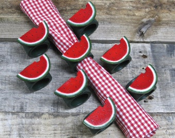 Summer Watermelon Napkin Rings - Set of 8